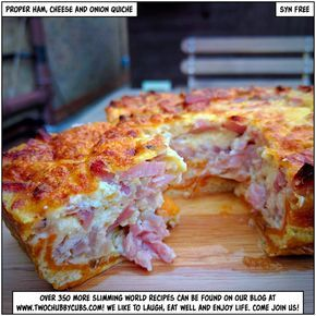 Slimming World proper ham, cheese and onion quiche