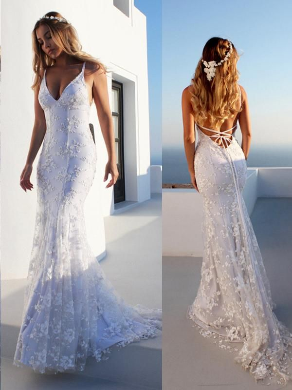 Mermaid Spaghetti Straps Sleeveless Lace Court Train Tulle Wedding Dresses YK20200628