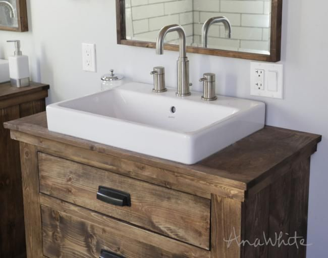 Top Mount Sink From Lowes Anna Farmhouse Love Rustic Bathroom Vanity Diy Diy Bathroom Vanity Unique Bathroom Vanity