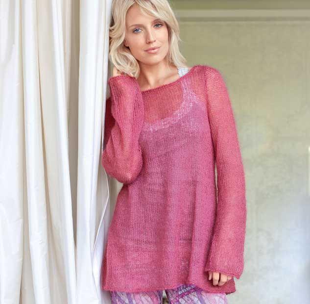 Описание вязания на спицах розового пуловера из мохера из журнала «Verena. Модное вязание» №3/2013