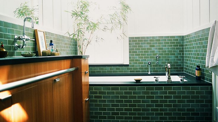 Everything You Need To Know About Bathroom Tile // green subway tile: Bathroom Design, Green Tile, Decor Ideas, Contemporary Bathrooms, Subway Tile, Architecture Green, Malcolm Davis, Towels Racks, Davis Architecture