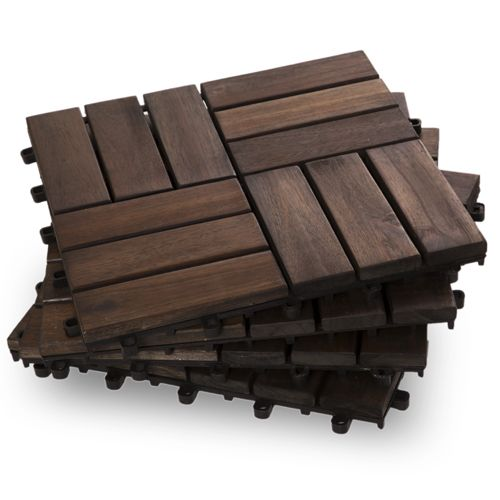 Need to update your backyard? We offer 6 easy DIY deck tiles to chose from. The one pictured is a Twelve Slat Mahogany - Box of 10 Deck Tiles for $39.99.
