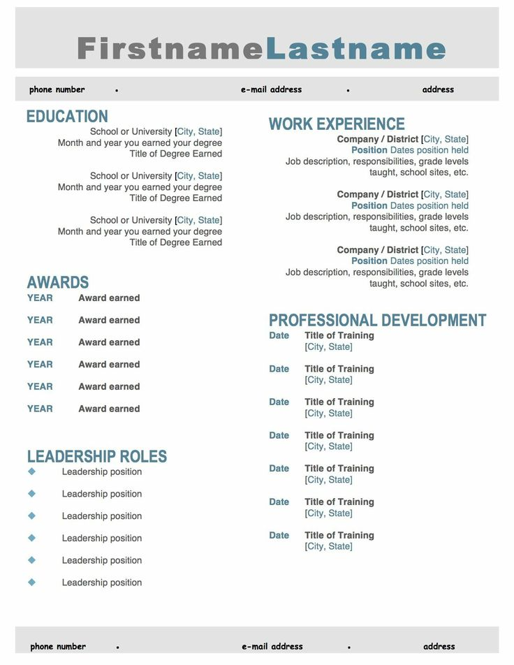 Gray and Teal Resume Template. Make your resume pop with