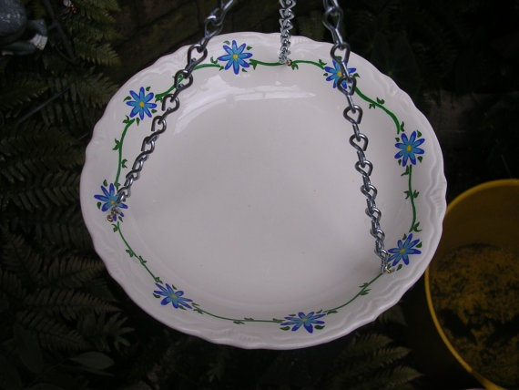Vintage recycled hand painted China bowl hanging garden art bird bath Mothers day kitchen window