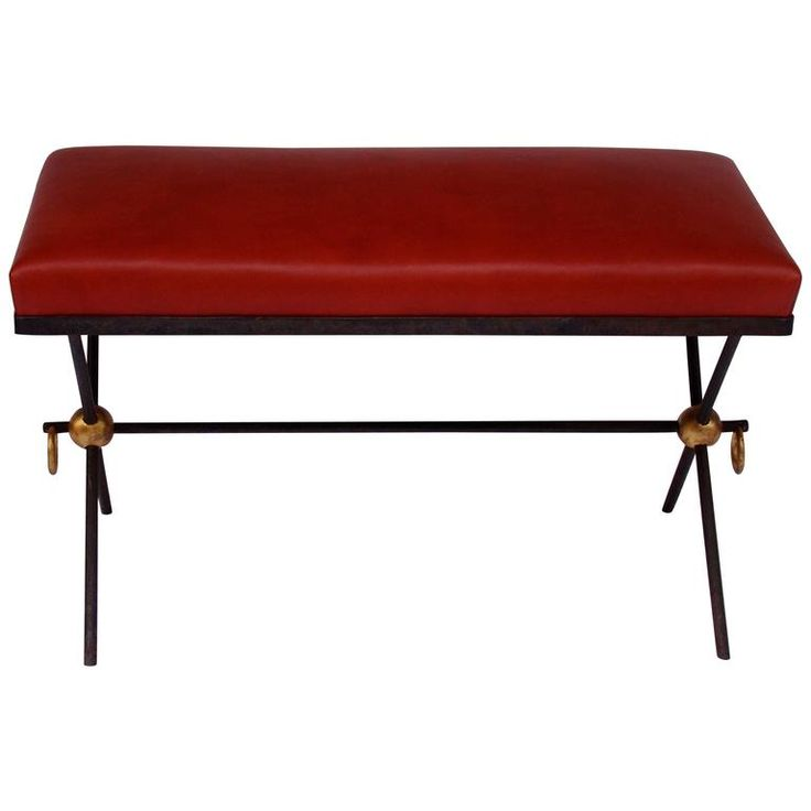 French Black and Golden Lacquered Wrought Iron and Leather Bench Seat, 1940s | From a unique collection of antique and modern benches at https://www.1stdibs.com/furniture/seating/benches/