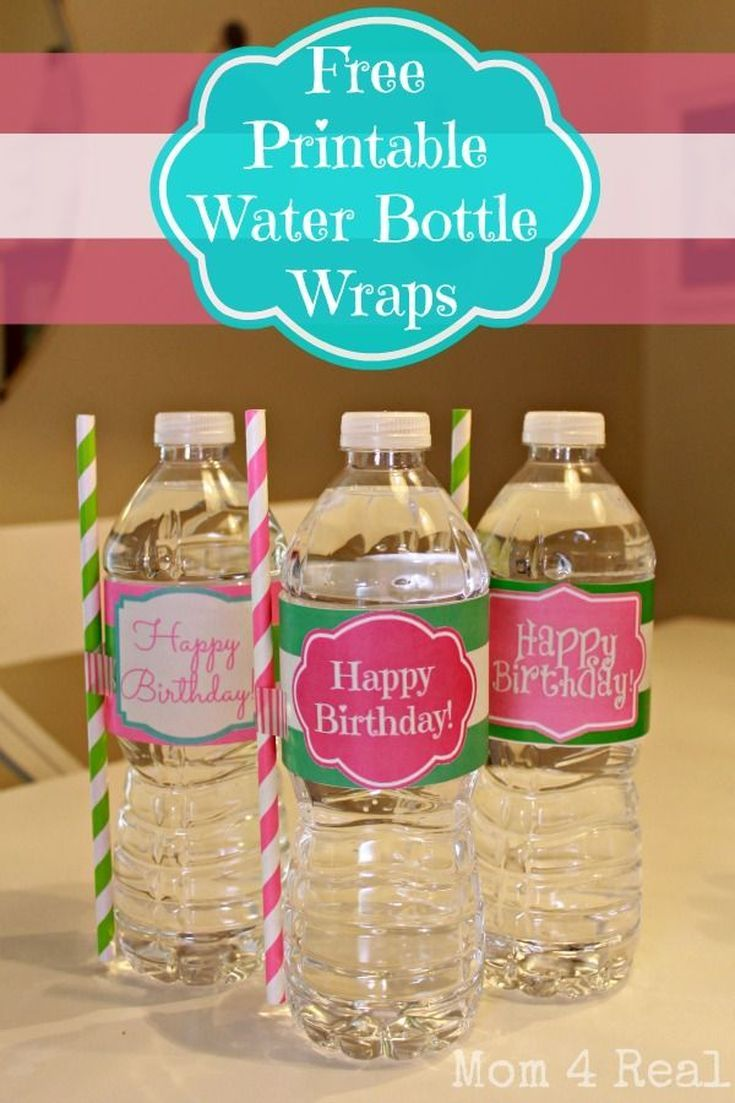 Print Your Own Water Bottle Labels with These 7 Free Sets of Designs: Free, Printable Birthday Water Bottle Wraps from Mom 4 Real
