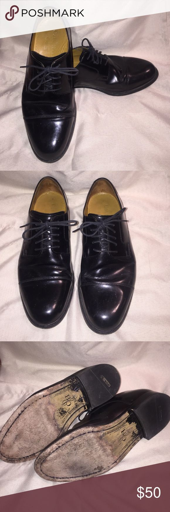 Men's Cole Haan Nike tech black dress shoes. Men's Nike tech Cole Haan dress shoes. Size 9M. extremely good condition and well acted for. Normal wear on bottoms of shoes with a lot of wear still left. Cole Haan Shoes Oxfords & Derbys