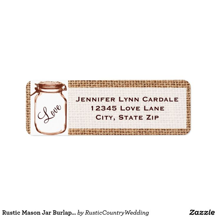 Rustic Mason Jar Burlap Wedding Address Labels