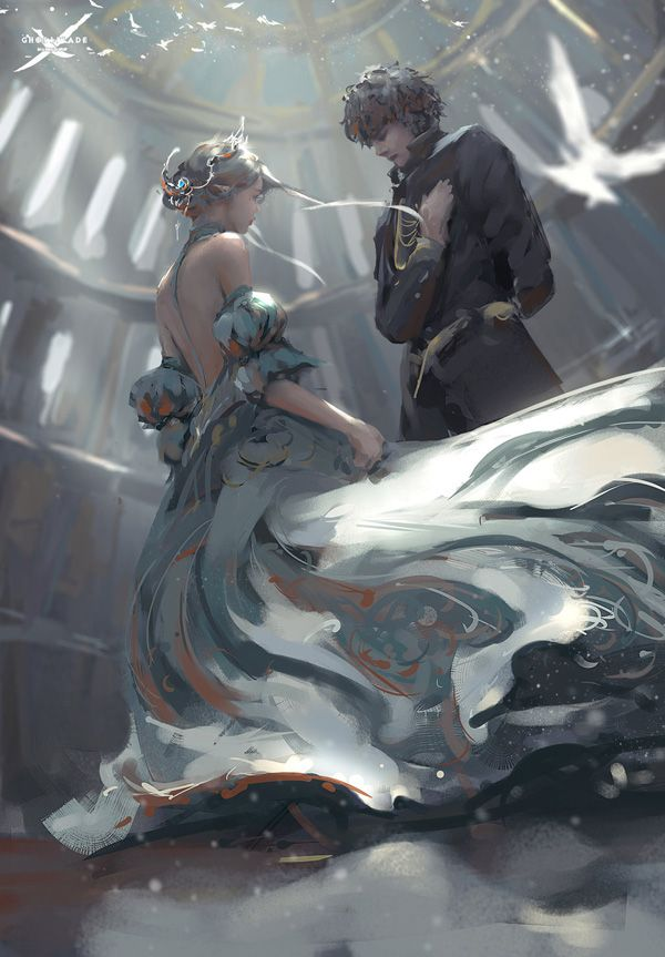 Concept Art by Wang Ling. It looks like a soldier, promising to protect the princess. >don't actually know but according to Ling's art subject history the girl is probably a soldier too haha