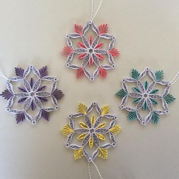 Add custom decor to your christmas tree or holiday party. These beautifully quilled snowflakes are 4 inches wide and comes with a string. The colors currently available are light blue accents, pale yellow accents, pale purple accents, light pink accents. Please contact me for