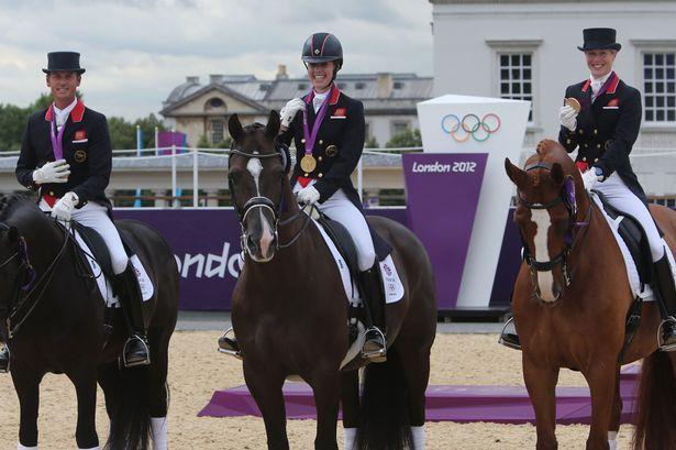 Team GB's dressage heroes celebrate Gold. Carl Hester, Laura Bechtolsheimer, Charlotte Dujardin,. Congratulations
