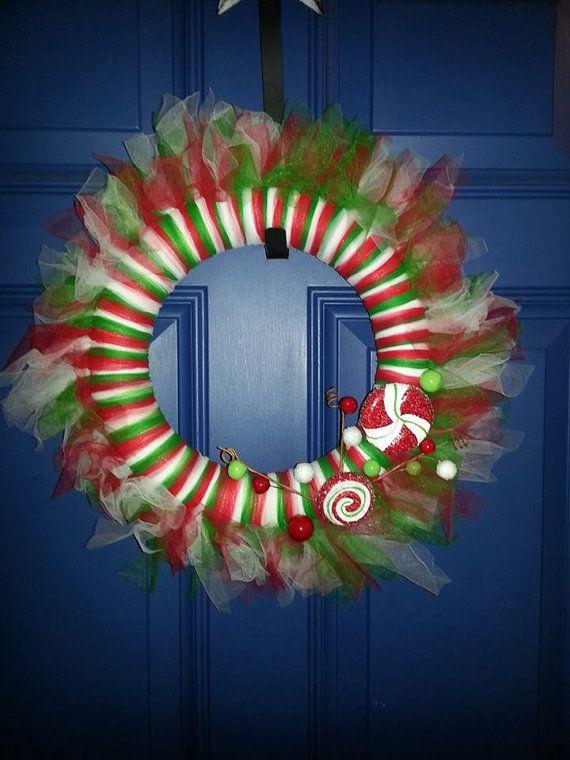 "12"" Christmas Tulle Wreath on Etsy, $30.00"