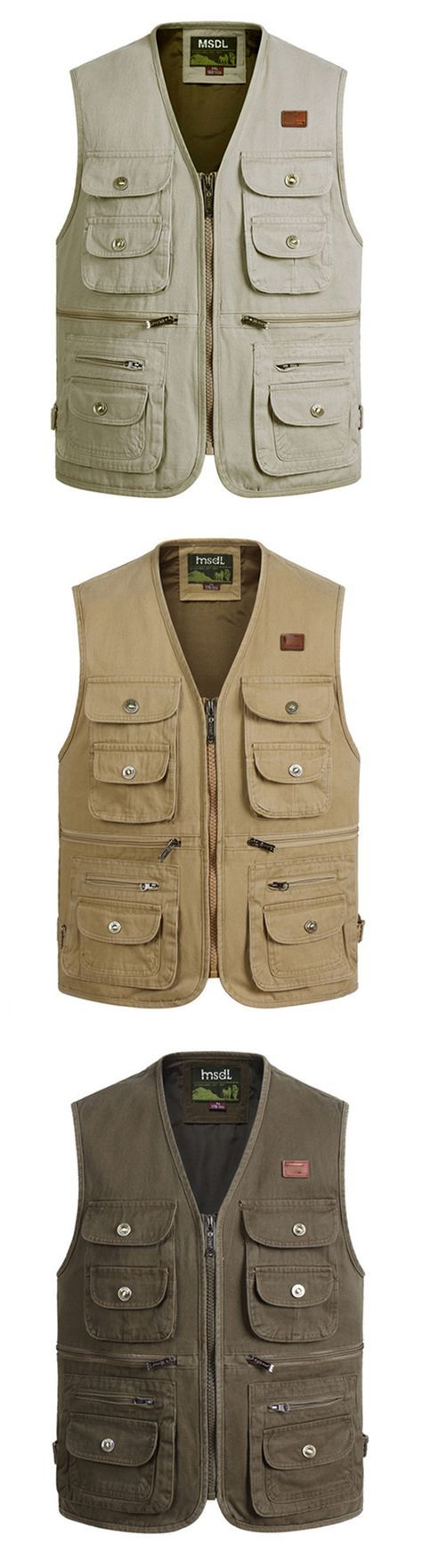 US$26.97 (47% OFF) Pure Cotton Multi Pockets Vest / Waistcoats for Men: Outdoor / Sport / Fishing / Photographic