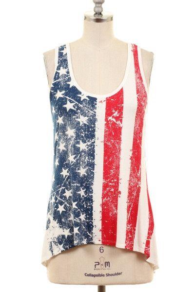 Women's American Flag Print T-Back Tank Top