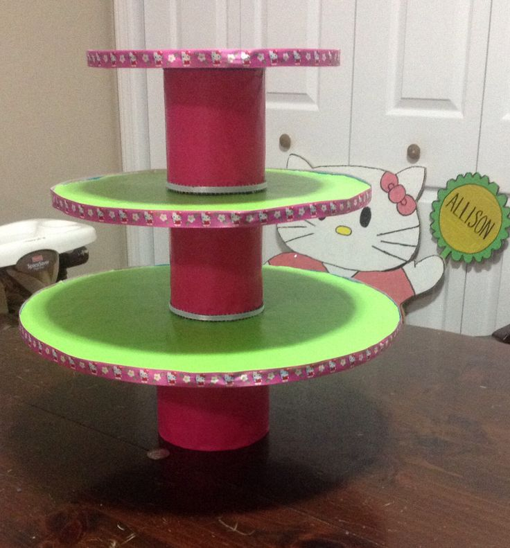 Cupcake stand. Made from baby formula cans, cardboard, dollar store wrapping paper and some ribbon. Easy!
