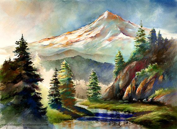 """In the Wild - Mount Hood Oregon""  Watercolor by Michael David Sorensen  www.MichaelDavidSorensen.com"