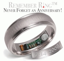 This is hilarious! This ring heats up to 120 degrees 24 hours before your anniversary every hour on the hour for about 10 seconds. Lol.