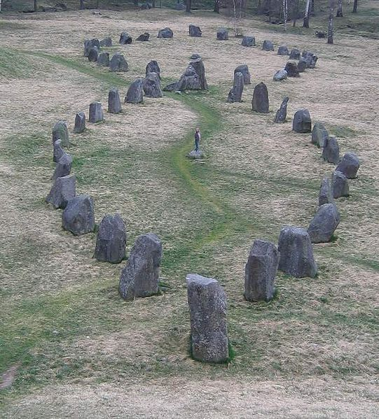Two of the viking stone ships (burial grounds) at Badelunda, near Västerås, Sweden.