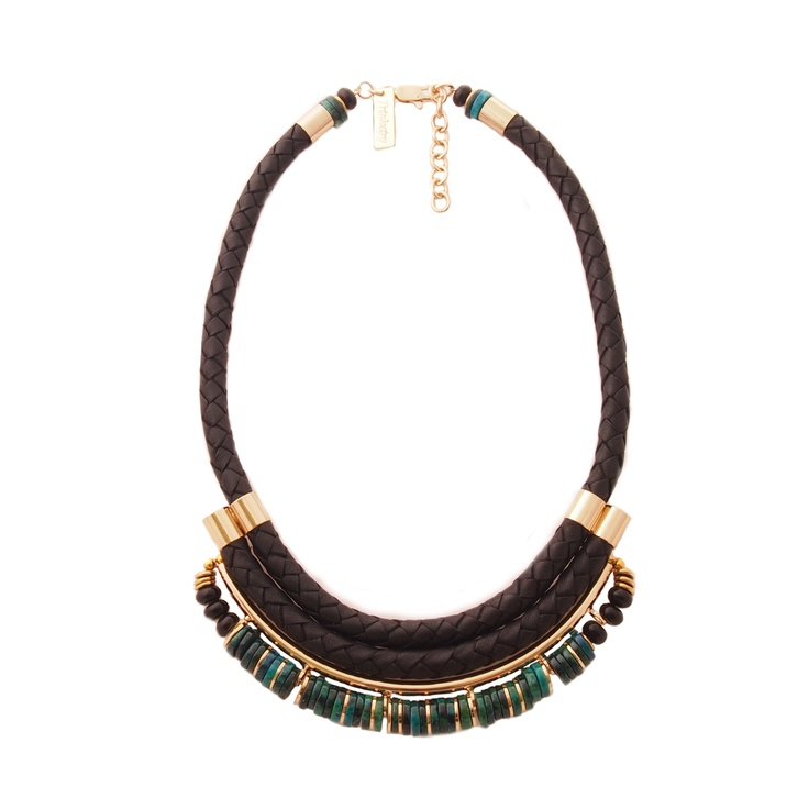 LEATHER & STONE MAVEN NECKLACE - EMERALD