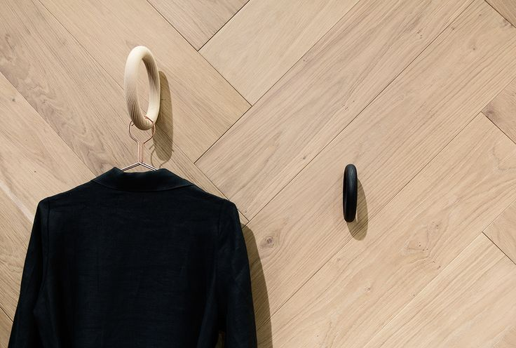 Oak Herringbone NORDIC used as wall covering. Perfect idea!