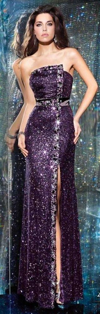 Alyce Paris Purple Spangled Evening Gown