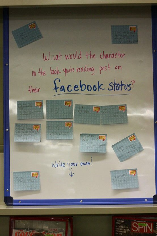 Mr. B's Beach Brains: Reading responses from kids!  very clever!: Books Character, Facebook Status, You R Reading, Idea, Exit Ticket, Books Club, Books You R, Reading Posts, Ya Books