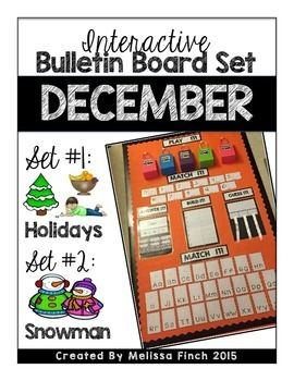 This interactive bulletin board series can be used SO many different ways:1.  As its own center2.  As a whole class activity3.  For early finishers4.  1:1 work center5.  Reward activitiesThis month has two different sets. -Holidays-SnowmanEach set includes:-2 alphabet matching sets (upper and lowercase)-2 number matching sets (numbers and quantities)-2 Questions (to be changed out each week)-2 riddle questions (to be changed out each week)-2 build it puzzles (to be changed out each week)-5…