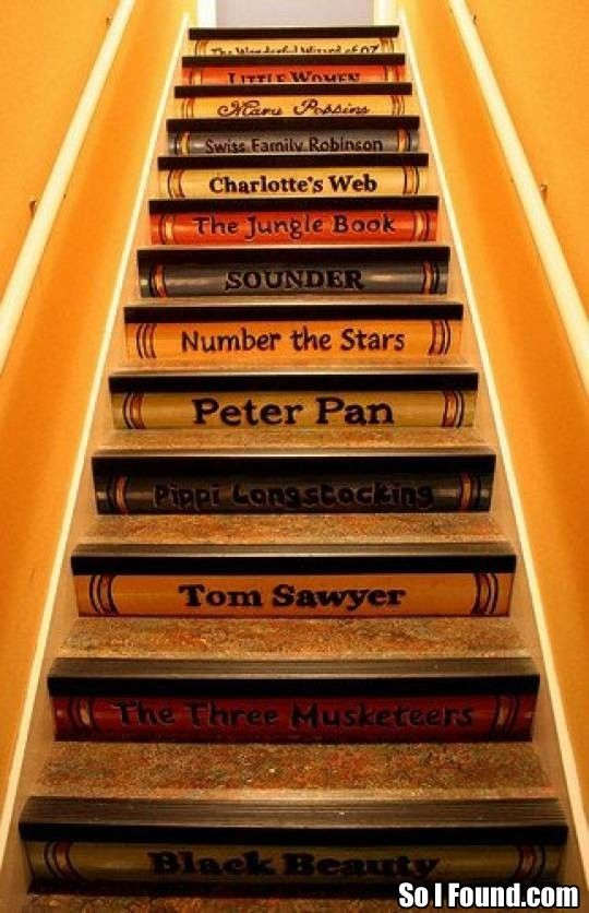 So I dislike many of these books, but this is a cool idea, especially if I have my dream house that has steps up to the library