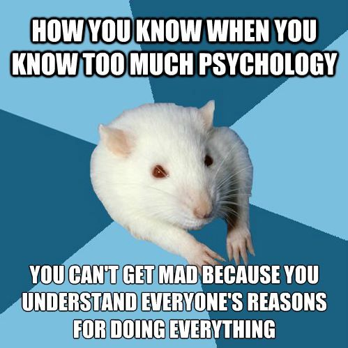 """[Picture: Background: 6 piece pie style color split with dark teal blue, and sky blue alternating. Foreground: A white lab rat with two visible arms and red eyes. Top text: """"How you know when you know too much psychology"""" Bottom text: """"You can't get mad because you understand everyone's reasons for doing everything""""]"""