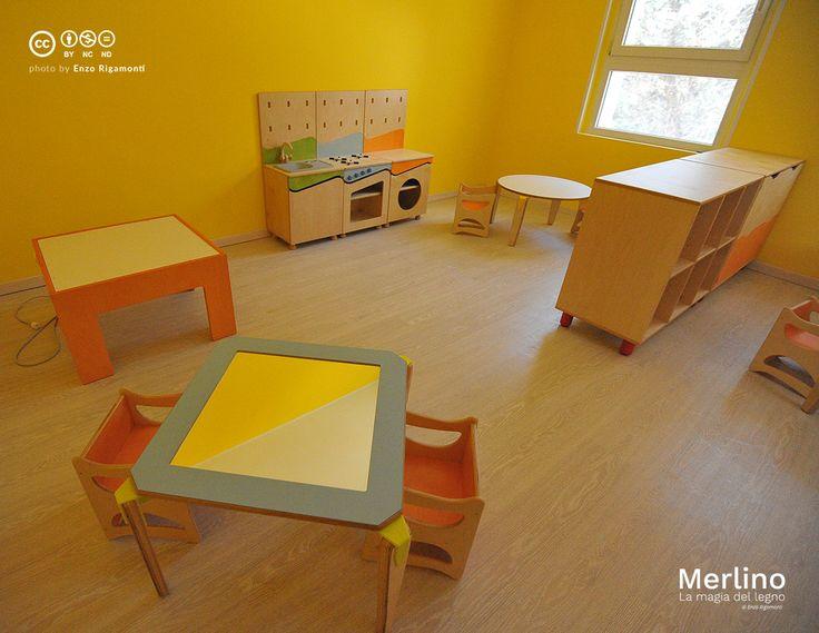 Aula nido bambini fino ai 36 mesi. Tavolo specchio, tavolo luminoso, angolo gioco simbolico cucina con tavolino e sedia reversibile, mobili contenitori su piedini con vani a giorno e ante. Per maggiori info www.merlino.it