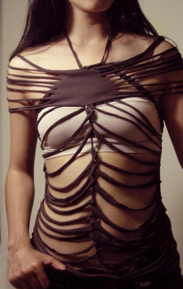 SLASH Dramatic Destroyed SEXY show some skin- one of a kind- ROCK Chic top shirt diy goth emo. $39,99, via Etsy.