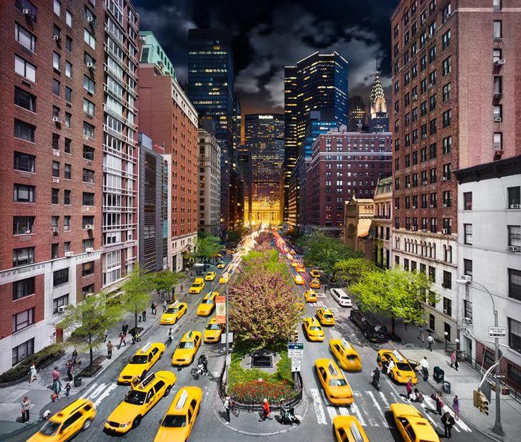 Dag och natt i New York City på en och samma bild
