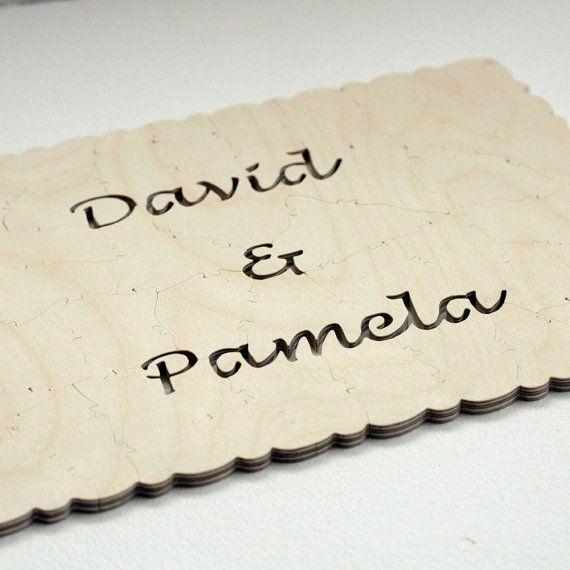 Wedding Guest Book WOOD Puzzle (A guest book alternative) 80 pieces. $345.00, via Etsy.