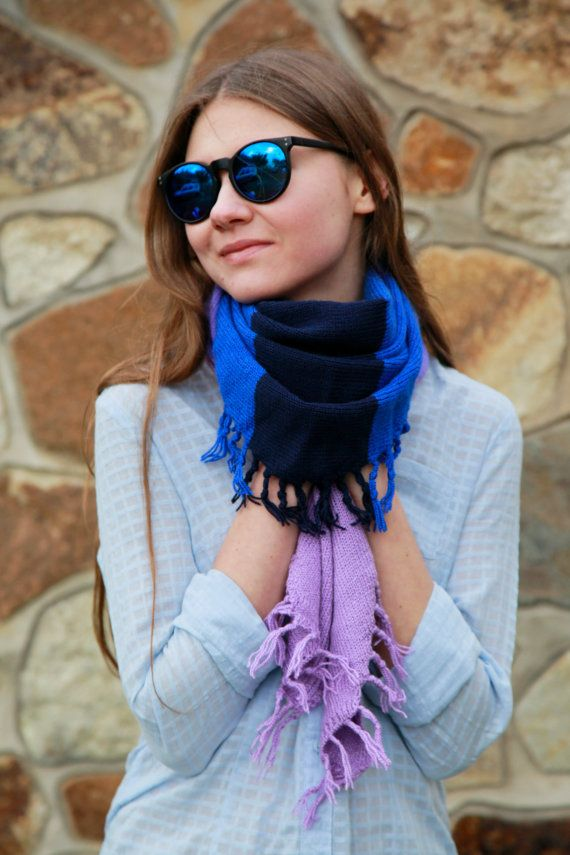 Soft knitted scarf. Warm knitted scarf. striped от OfKindHands