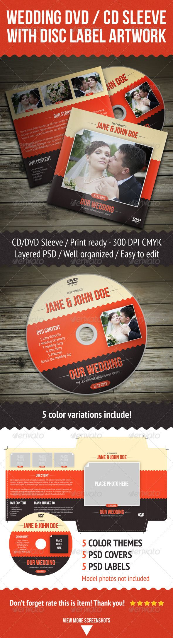 Wedding DVD / CD Sleeve With Disc Label - #Packaging Print #Templates Download here: https://graphicriver.net/item/wedding-dvd-cd-sleeve-with-disc-label/4406842?ref=alena994