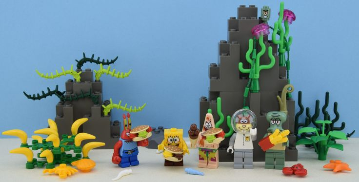 https://flic.kr/p/RNsQN6 | LEGO SpongeBob SquarePants  | Hey folks it's Alex THELEGOFAN here ! I have some minifigures from LEGO SpongeBob licence. These figs are not expensive and very cool. I take the krabby patty or hamburgers from LEGO Scooby Doo theme. Original picture by me