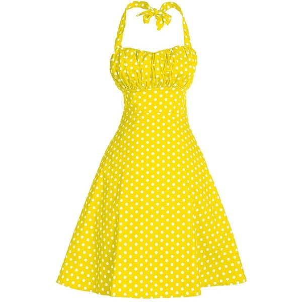 V Fashion Women's Rockabilly 50s Vintage Polka Dots Halter Cocktail... ($16) ❤ liked on Polyvore featuring dresses, yellow, vintage evening dresses, swing dress, evening dresses, yellow cocktail dress and holiday dresses