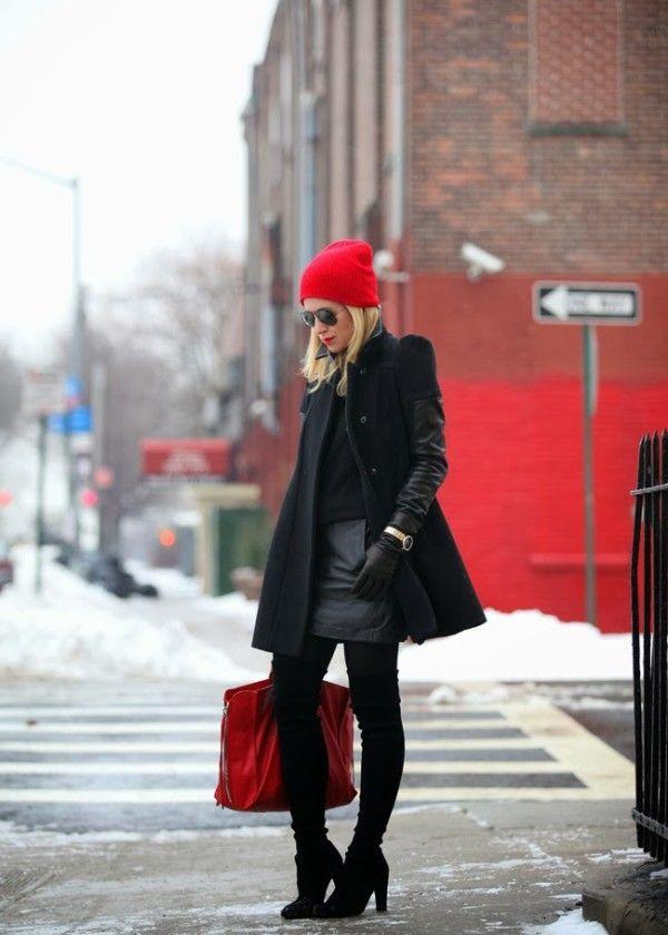 black coat winter outfit idea