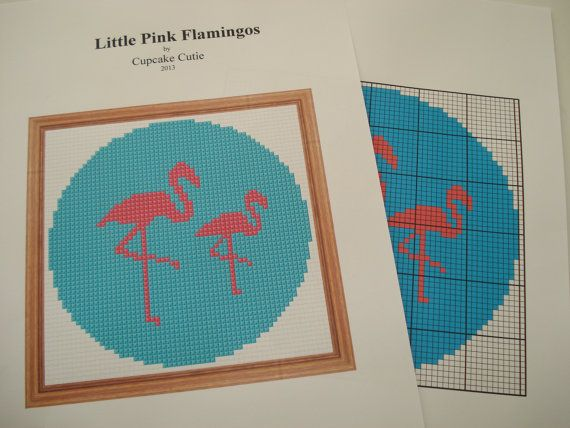 Pink Flamingos Silhouette cross stitch by cupcakecutie1 on Etsy, $3.00