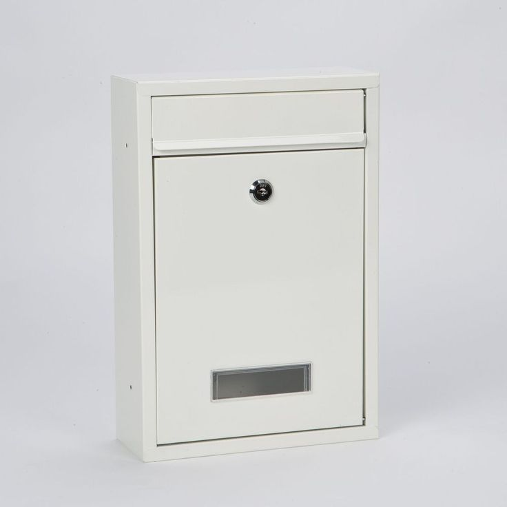 Post Box Letterbox Lockable Steel Mailbox Postbox Apartment Flat Grey White Slim