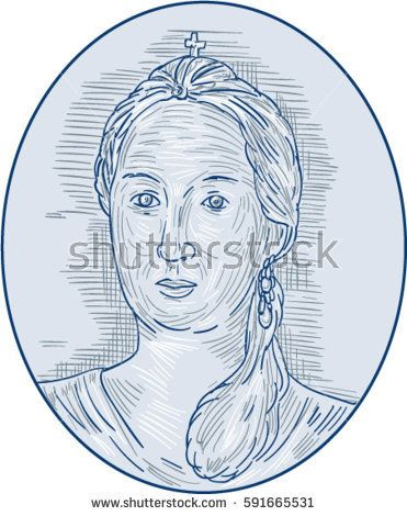 Drawing sketch style illustration of an 18th century Russian empress bust viewed from front set inside oval shape.   #empress #sketch #illustration