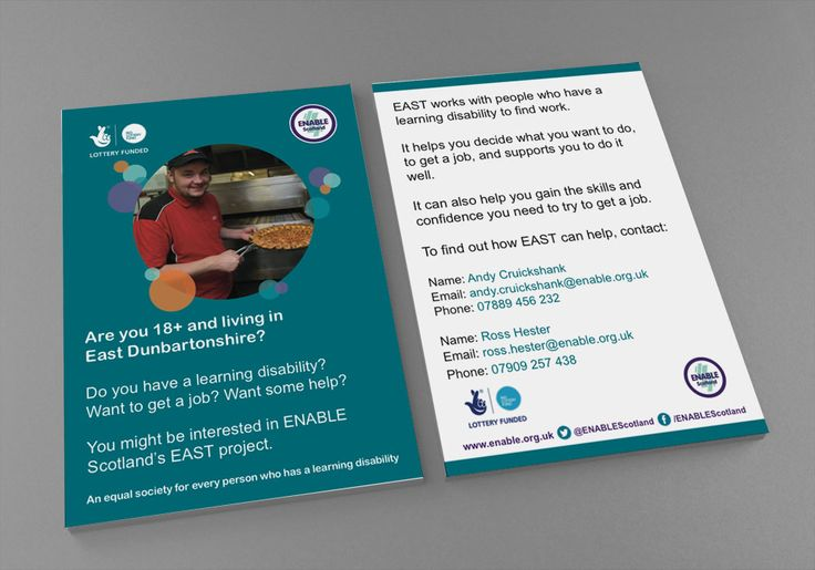 EAST POSTCARDS (BLUE VERSION) – Double sided postcard design to market ENABLE Scotland's EAST Project for East Renfrewshire in Blue Version. #graphicdesign #design #postcards #stationery #employmentservices #employment #jobs #printouts #marketing