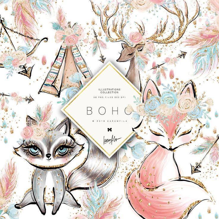 Boho Clipart, Cute Boho Animals Clipart, Boho Fox, Racoon Clipart, Deer Clipart, Floral Arrows Clipart, Boho Planner Stickers, Children Art