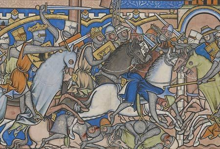 The Crusader Bible: A Gothic Masterpiece | The Morgan Library & Museum - Saul killing King Nahash and destroying the Ammonites MS M.638, fol. 23v, det.  - The Crusader Bible - The Morgan Library & Museum - Purchased by J. P. Morgan, Jr., 1916.