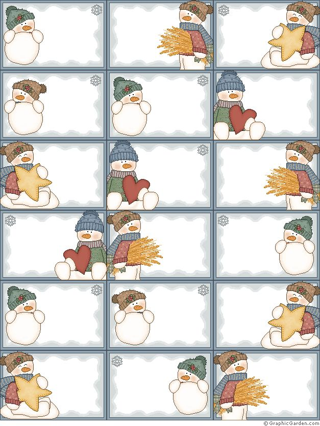 Snowman tags and so many more...valentines, summer etc. so cute and free
