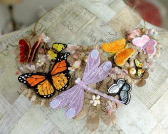 Collana, collana farfalla, dichiarazione Collana Boho, gioielli di natura, Avant Garde collana, uno-di-un-tipo collana, gioielli farfalla