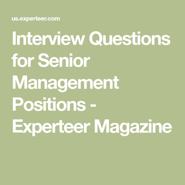 Interview Questions for Senior Management Positions - Experteer Magazine