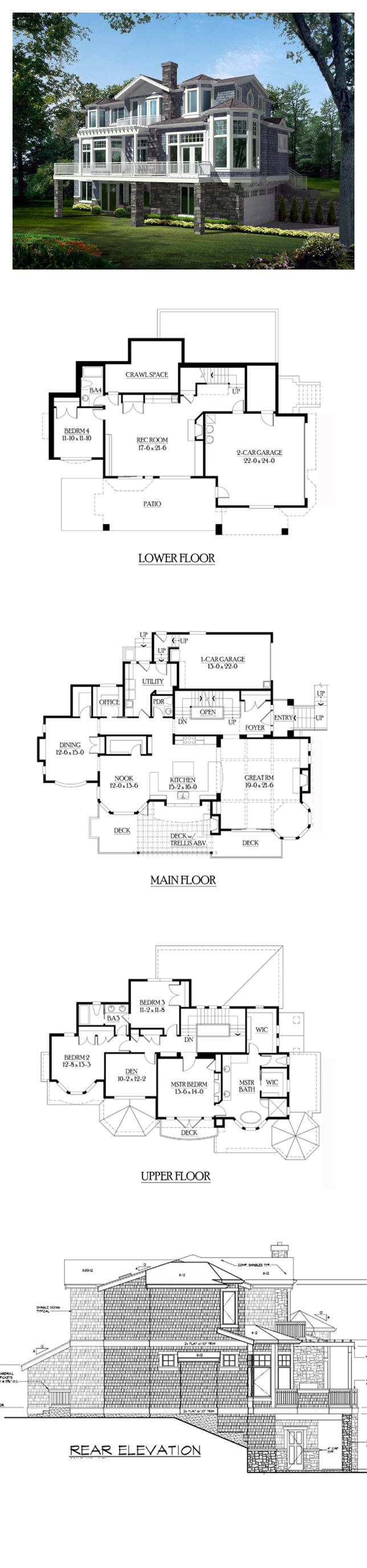 Shingle Style COOL House Plan ID: chp-39334 | Total Living Area: 4036 sq. ft., 4 bedrooms & 3.5 bathrooms. #houseplan #shinglestylehome