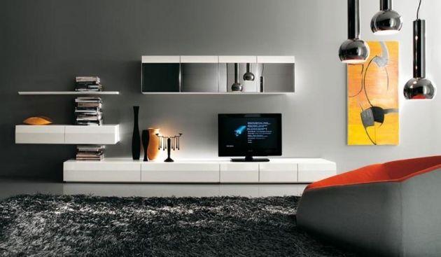 Wohnwand in puristischem Design-weiße Hochglanzfronten-gelb-rot…