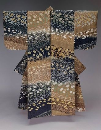 Noh costume (karaori) Japanese, Edo period, 19th century, Silk; 2/1 twill-weave, ikat-dyed (kasuri) silk discontinuous supplementary patterning wefts, Noh theater robe (karaori) for female role with alternating color blocks of tan and blue delineated by ikat-dyed warp threads and overall design of pinks and chrysanthemums in blue, green, yellow and white silk discontinuous supplementary patterning wefts. MFA